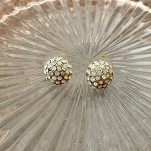 1928 gold earrings with rhinestone detail